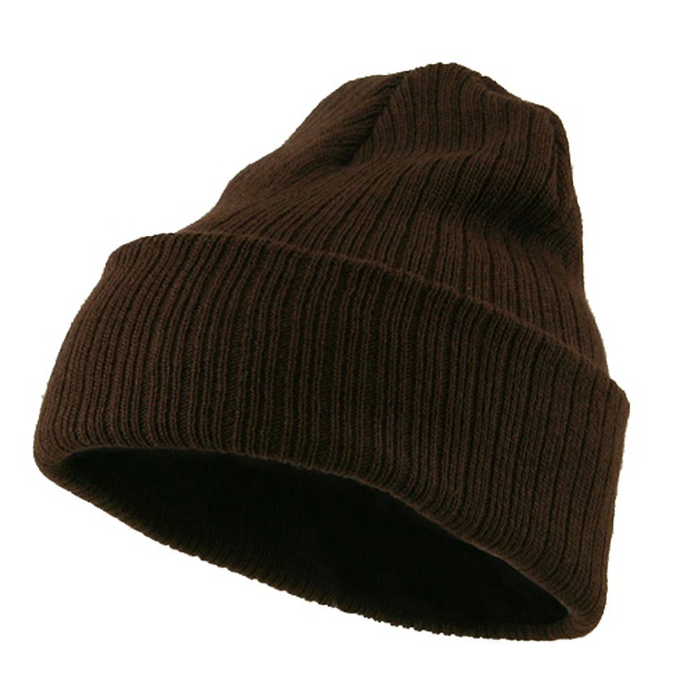 Acrylic Ribbed Cuff Beanie - Brown - Hats and Caps Online Shop - Hip Head Gear
