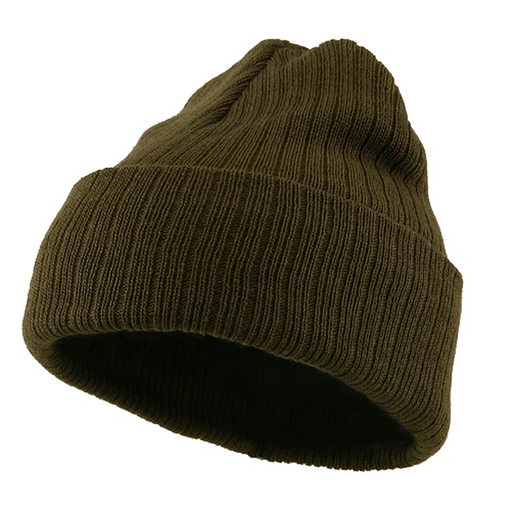 Acrylic Ribbed Cuff Beanie - Olive - Hats and Caps Online Shop - Hip Head Gear
