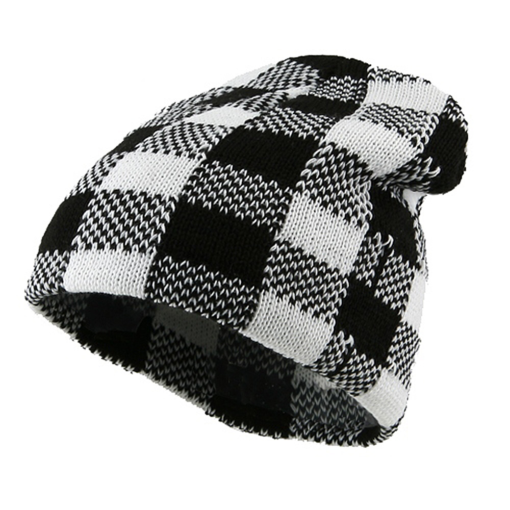 Buffalo Plaid Short Beanie - White Black - Hats and Caps Online Shop - Hip Head Gear