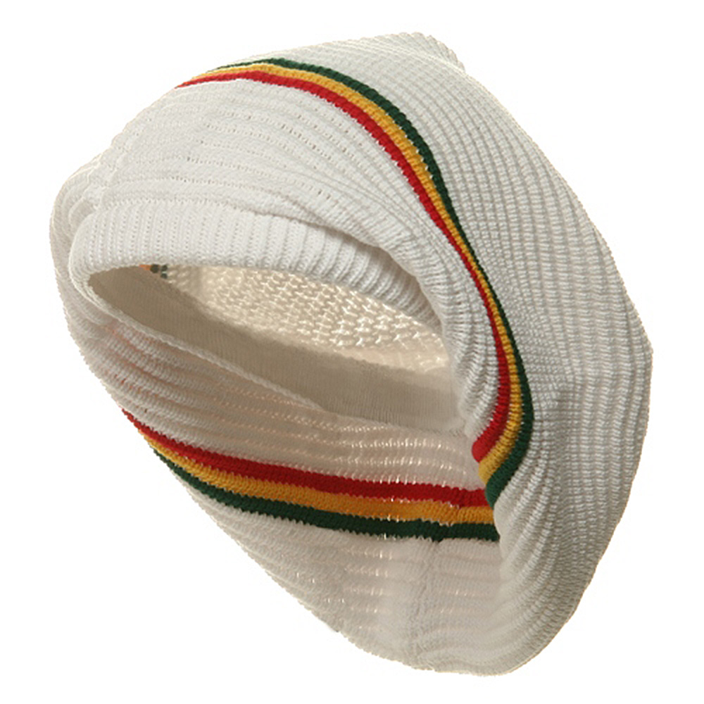 New Rasta Deep Crown Beanie-White RGY - Hats and Caps Online Shop - Hip Head Gear