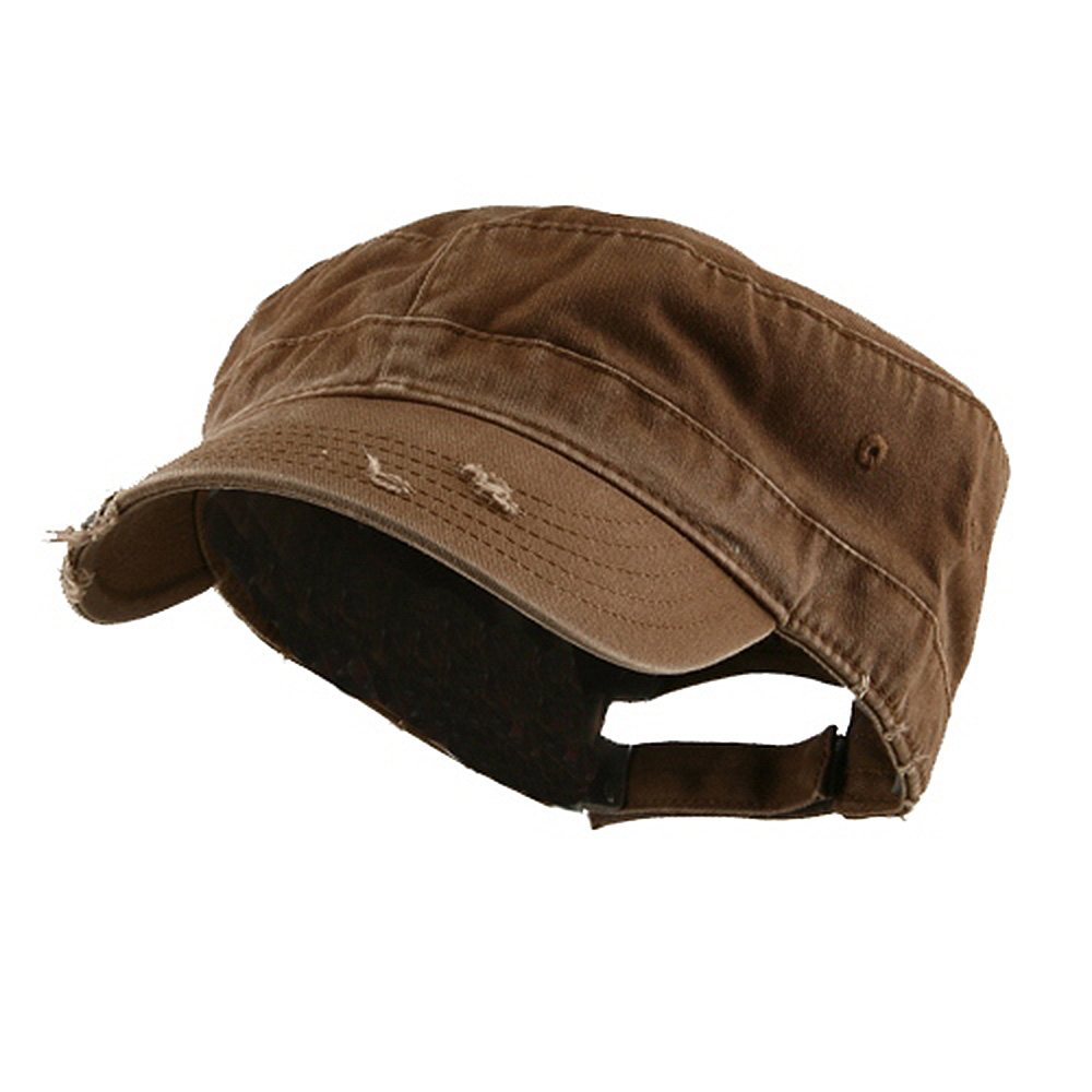 Enzyme Frayed Solid Army Caps-Brown - Hats and Caps Online Shop - Hip Head Gear