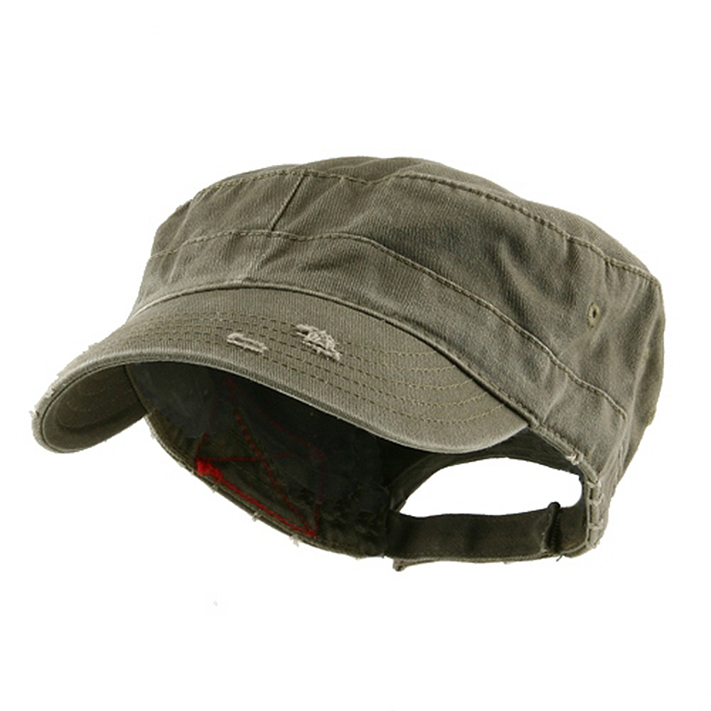 Enzyme Frayed Solid Army Caps-Olive - Hats and Caps Online Shop - Hip Head Gear