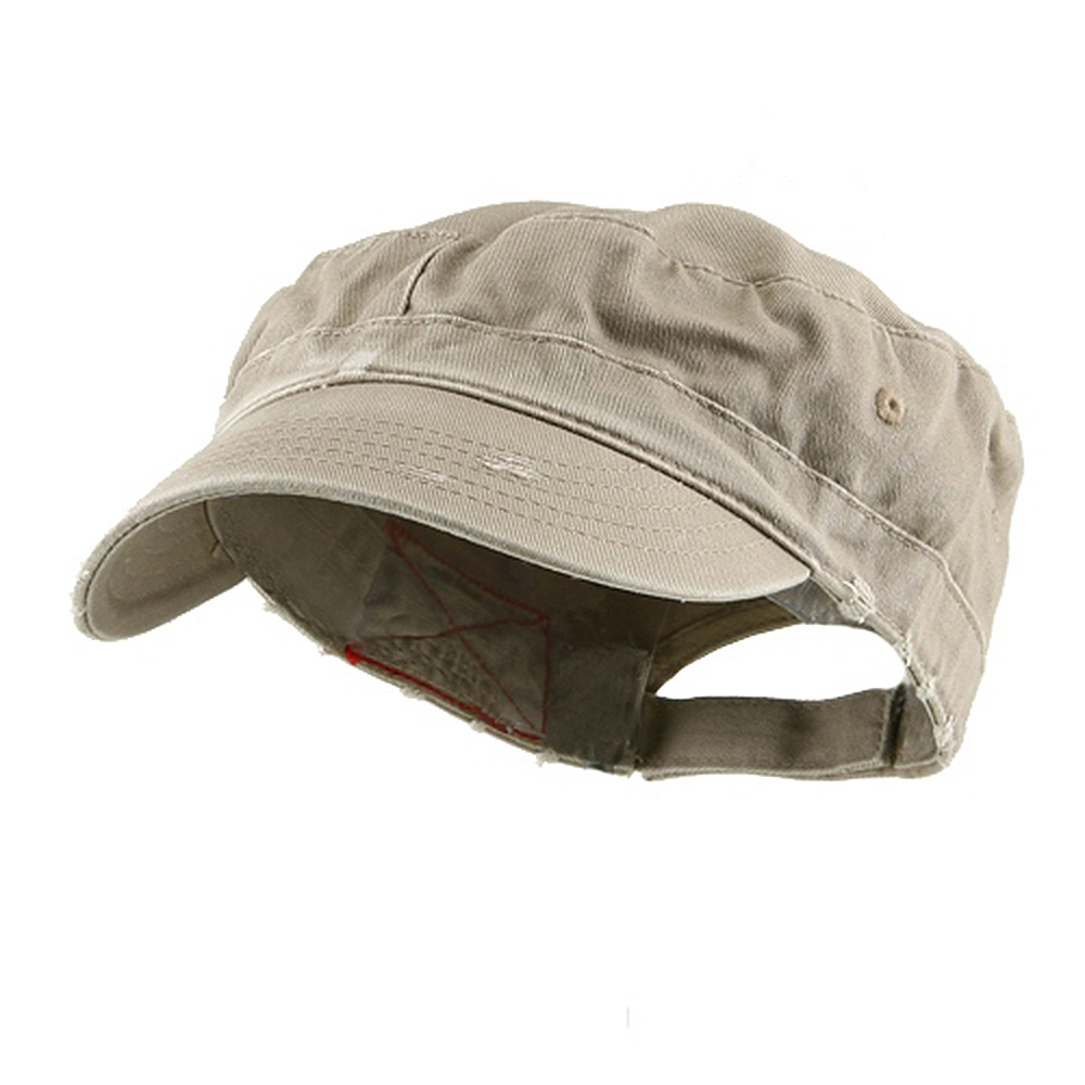 Enzyme Frayed Solid Army Caps-Khaki - Hats and Caps Online Shop - Hip Head Gear