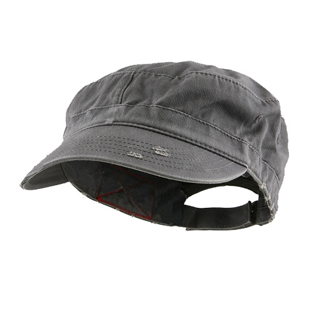 Enzyme Frayed Solid Army Caps-Grey - Hats and Caps Online Shop - Hip Head Gear
