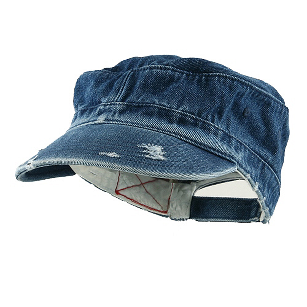 Enzyme Frayed Solid Army Caps-Denim - Hats and Caps Online Shop - Hip Head Gear