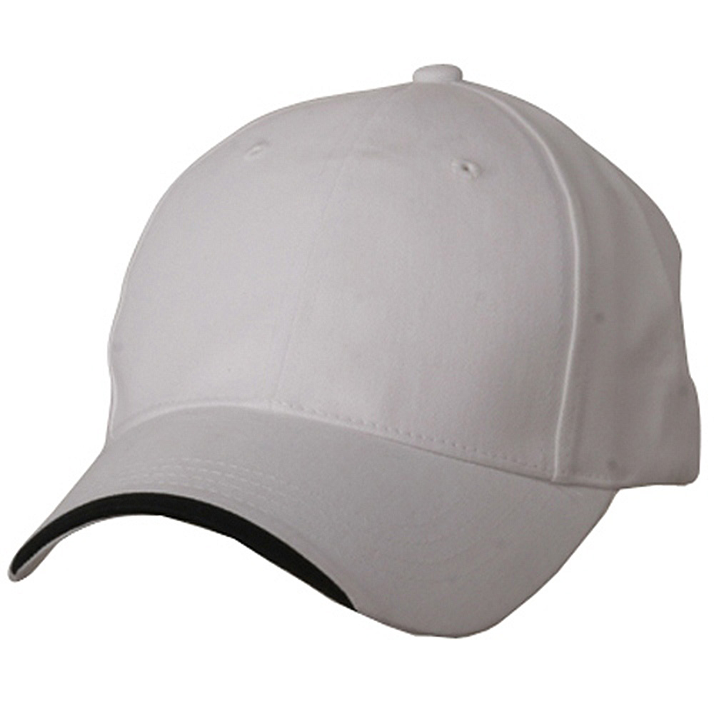 Deluxe Brushed Cotton Twill Caps-White Black - Hats and Caps Online Shop - Hip Head Gear