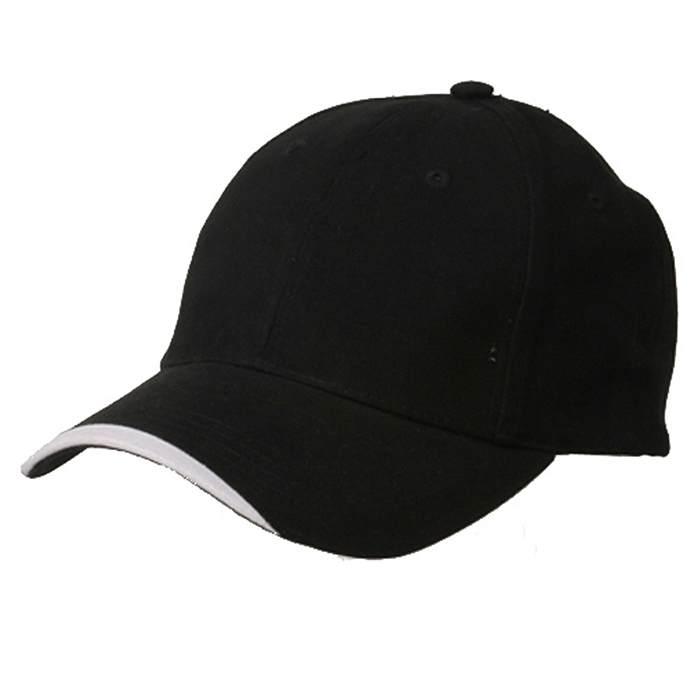 Deluxe Brushed Cotton Twill Caps-Black White - Hats and Caps Online Shop - Hip Head Gear
