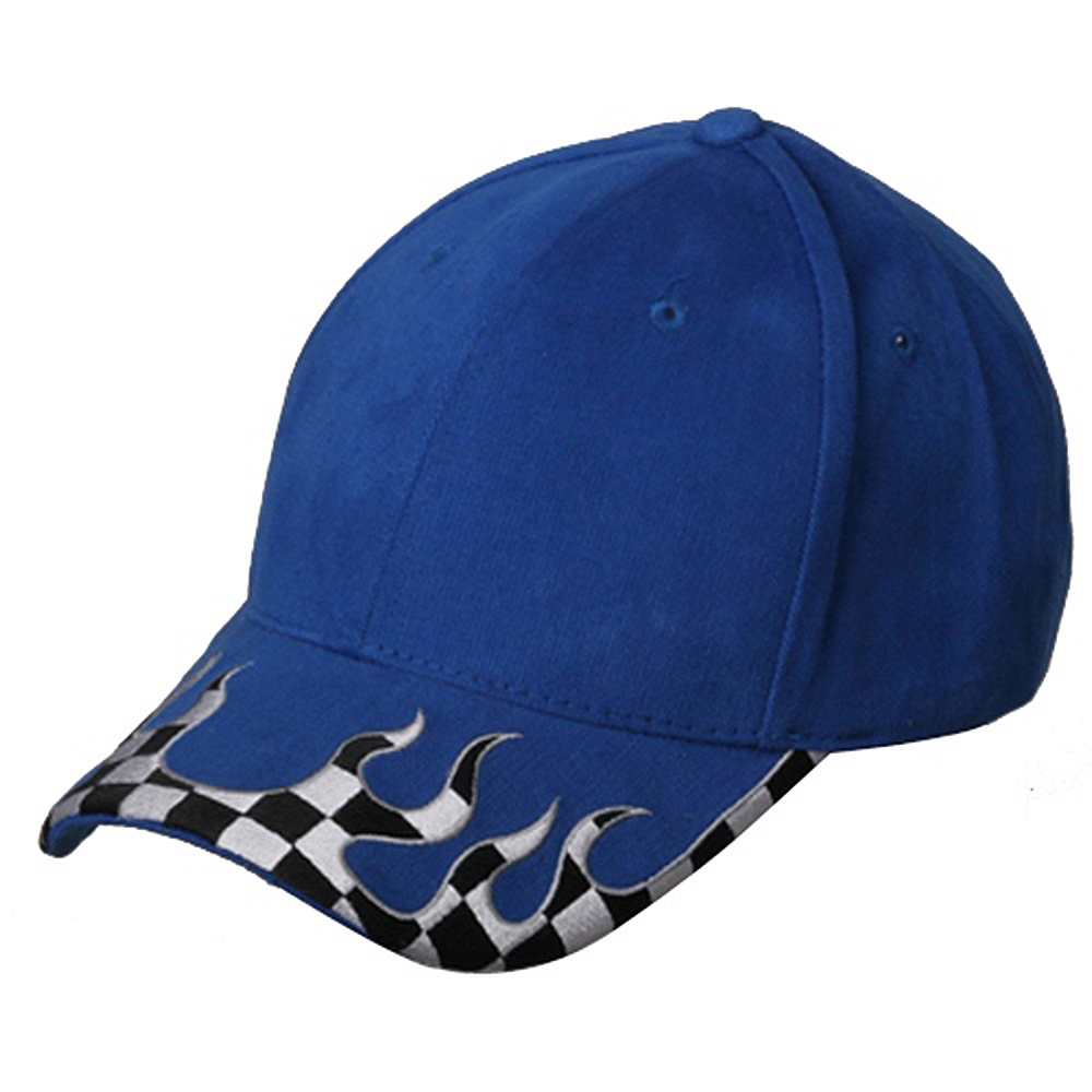 Checker Flame Brim Cap-Royal - Hats and Caps Online Shop - Hip Head Gear