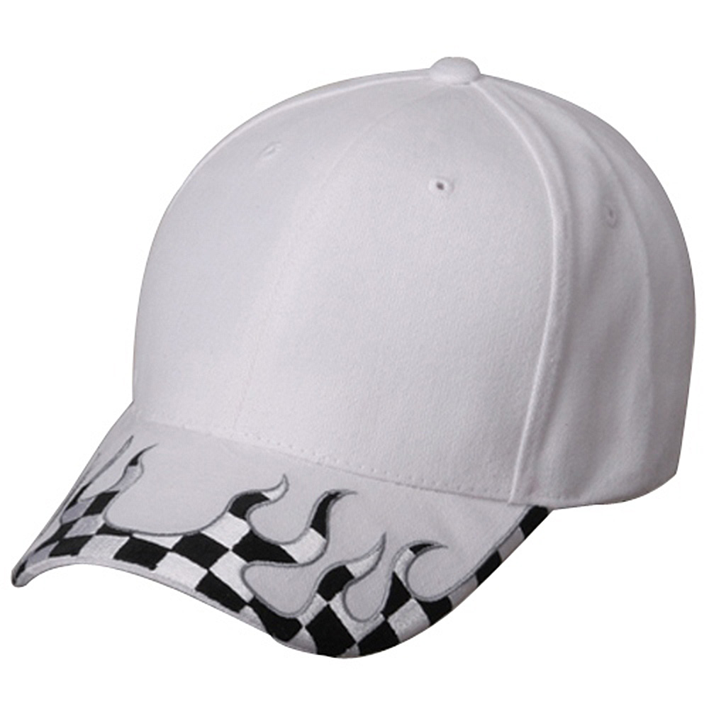 Checker Flame Brim Cap-White - Hats and Caps Online Shop - Hip Head Gear