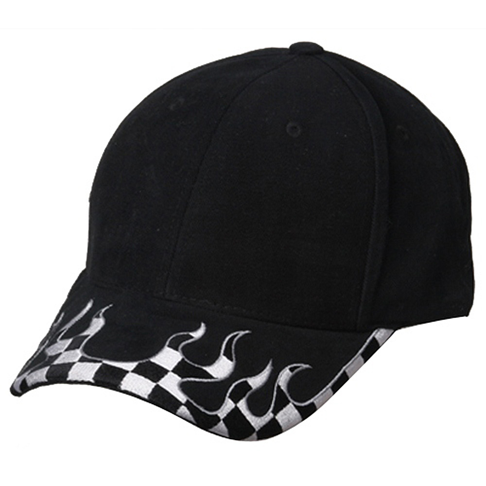 Checker Flame Brim Cap-Black - Hats and Caps Online Shop - Hip Head Gear