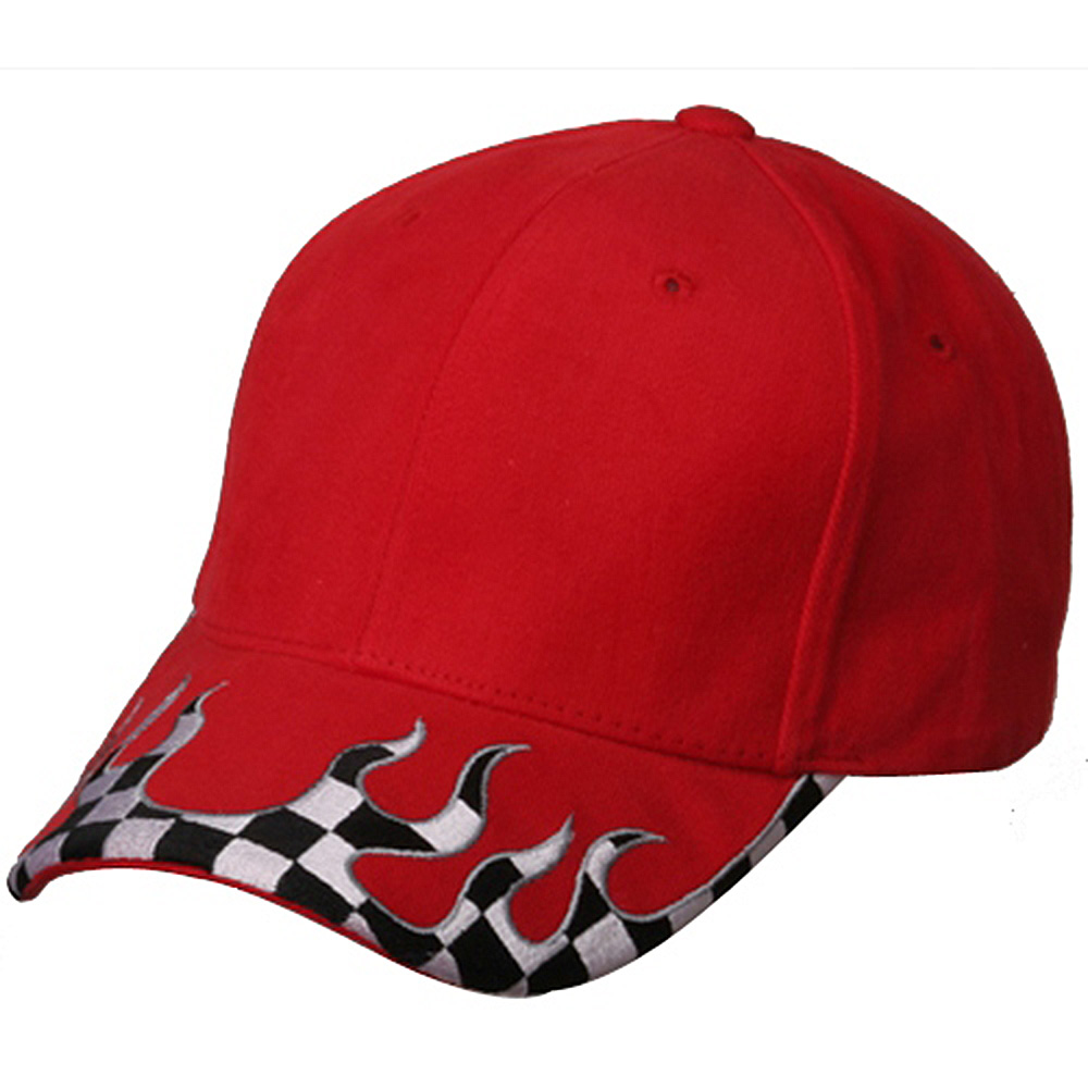 Checker Flame Brim Cap-Red - Hats and Caps Online Shop - Hip Head Gear