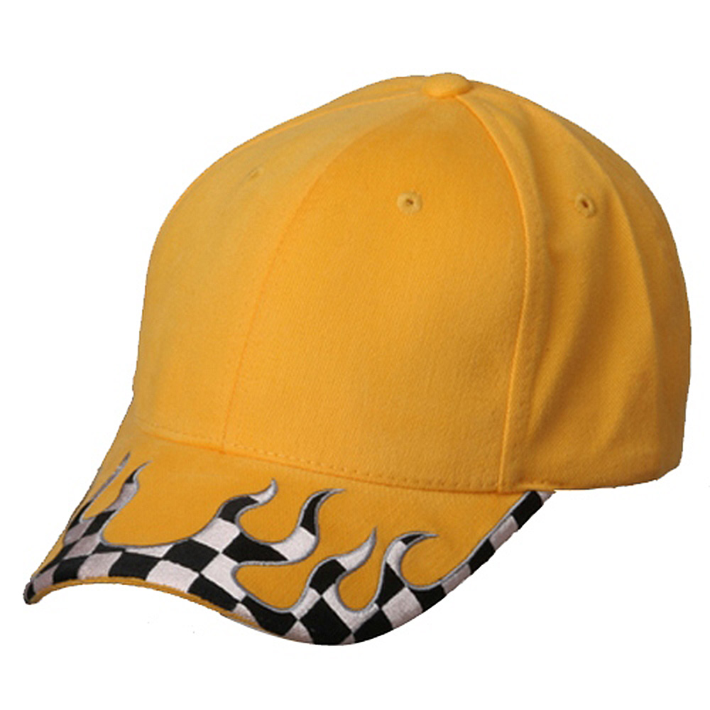 Checker Flame Brim Cap-Yellow - Hats and Caps Online Shop - Hip Head Gear