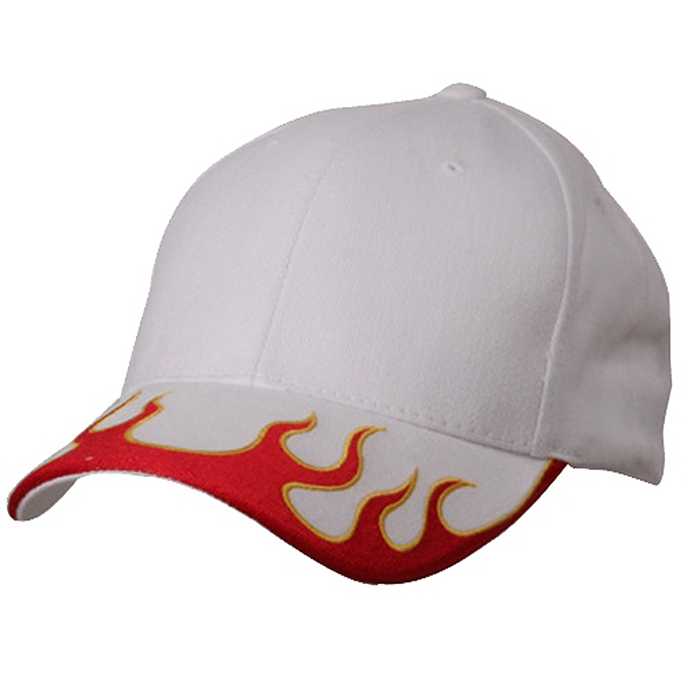 Flame Cap (03)-White Red Yellow