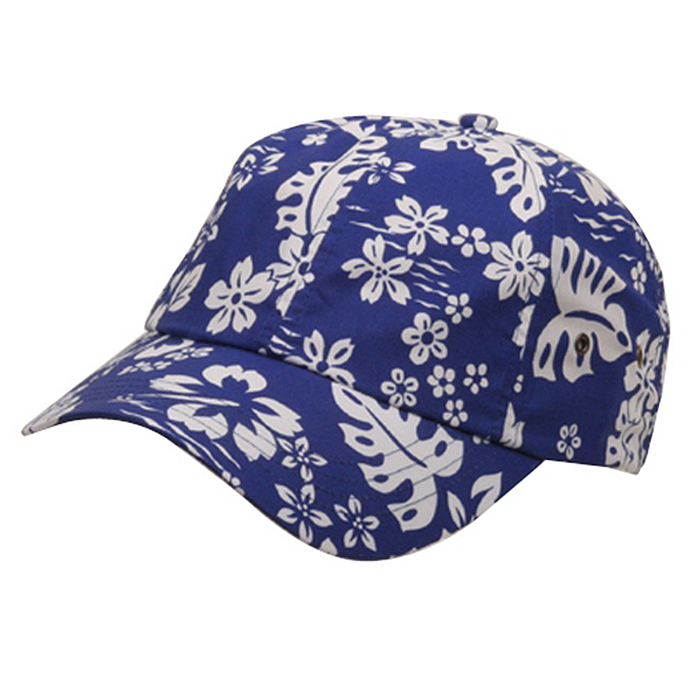 Hawaiian Flower Print Cap #3-Royal - Hats and Caps Online Shop - Hip Head Gear