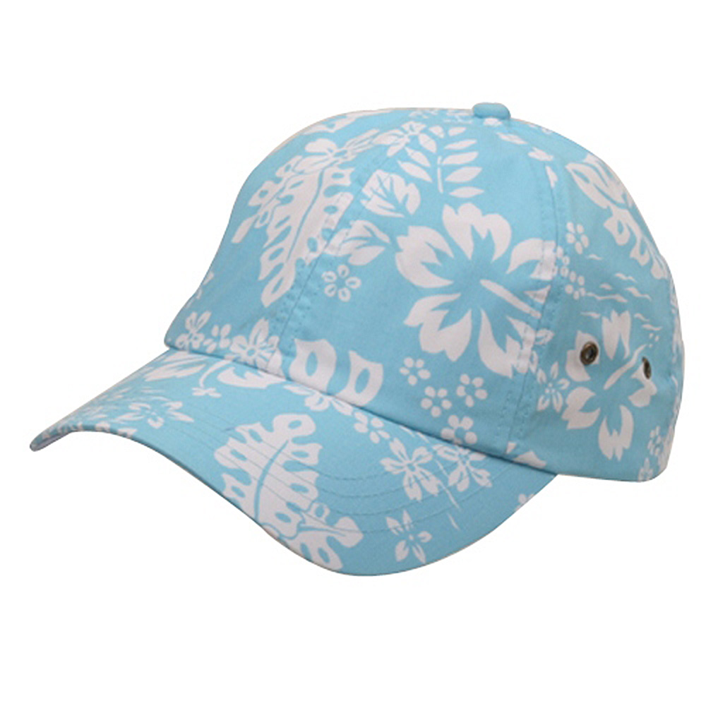 Hawaiian Flower Print Cap #3-Lt Blue - Hats and Caps Online Shop - Hip Head Gear