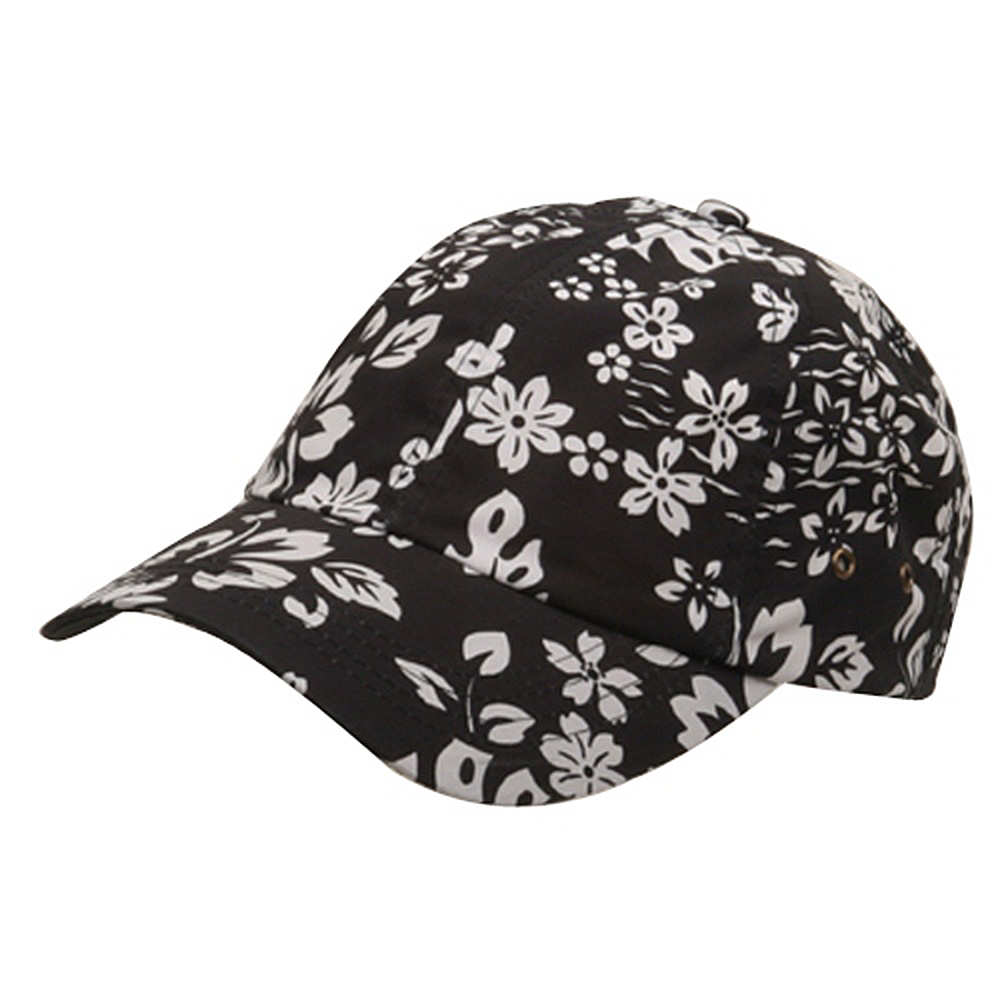 Hawaiian Flower Print Cap #3-Black - Hats and Caps Online Shop - Hip Head Gear