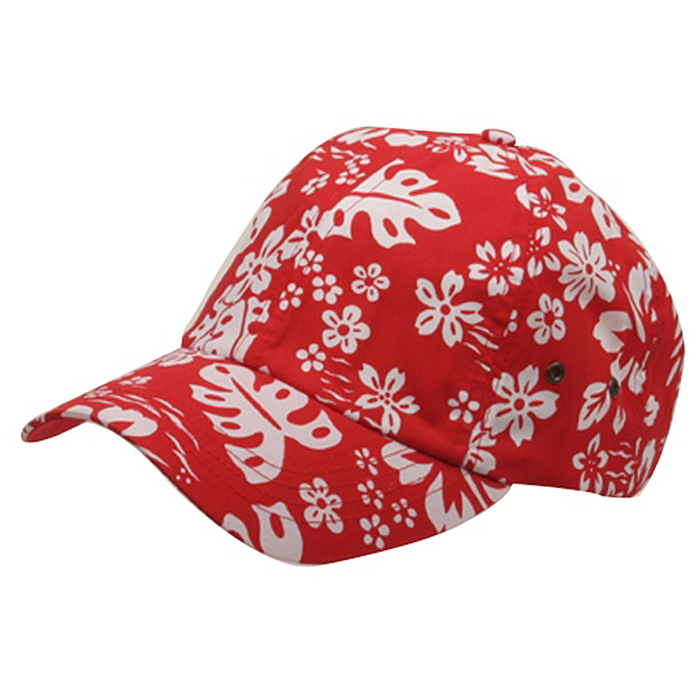 Hawaiian Flower Print Cap #3-Red - Hats and Caps Online Shop - Hip Head Gear