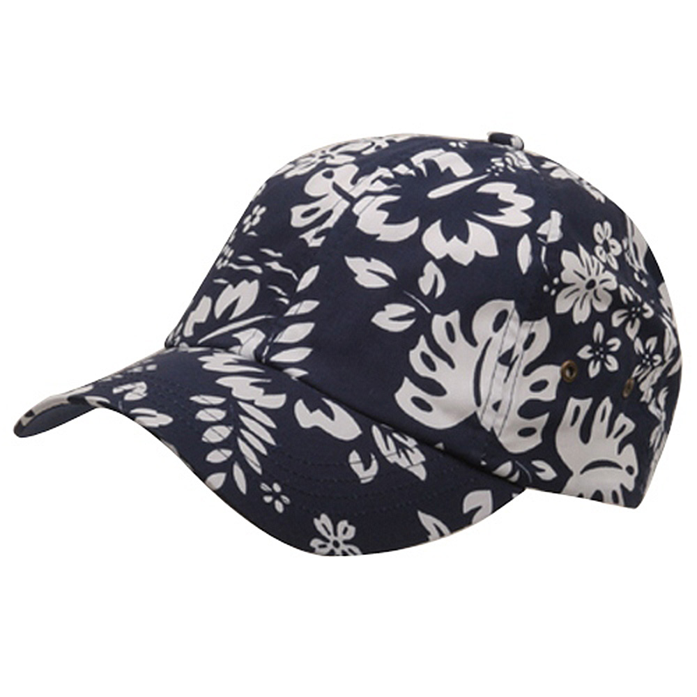 Hawaiian Flower Print Cap #3-Navy - Hats and Caps Online Shop - Hip Head Gear