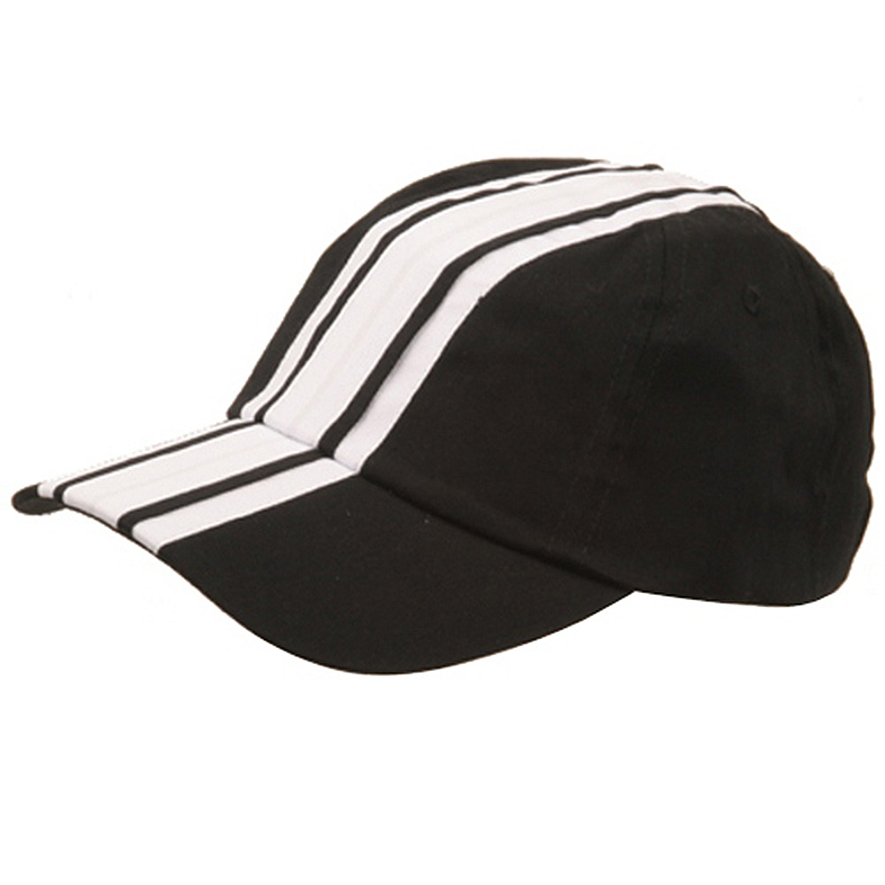 Racing Stripe Cotton Twill Cap-Black White - Hats and Caps Online Shop - Hip Head Gear