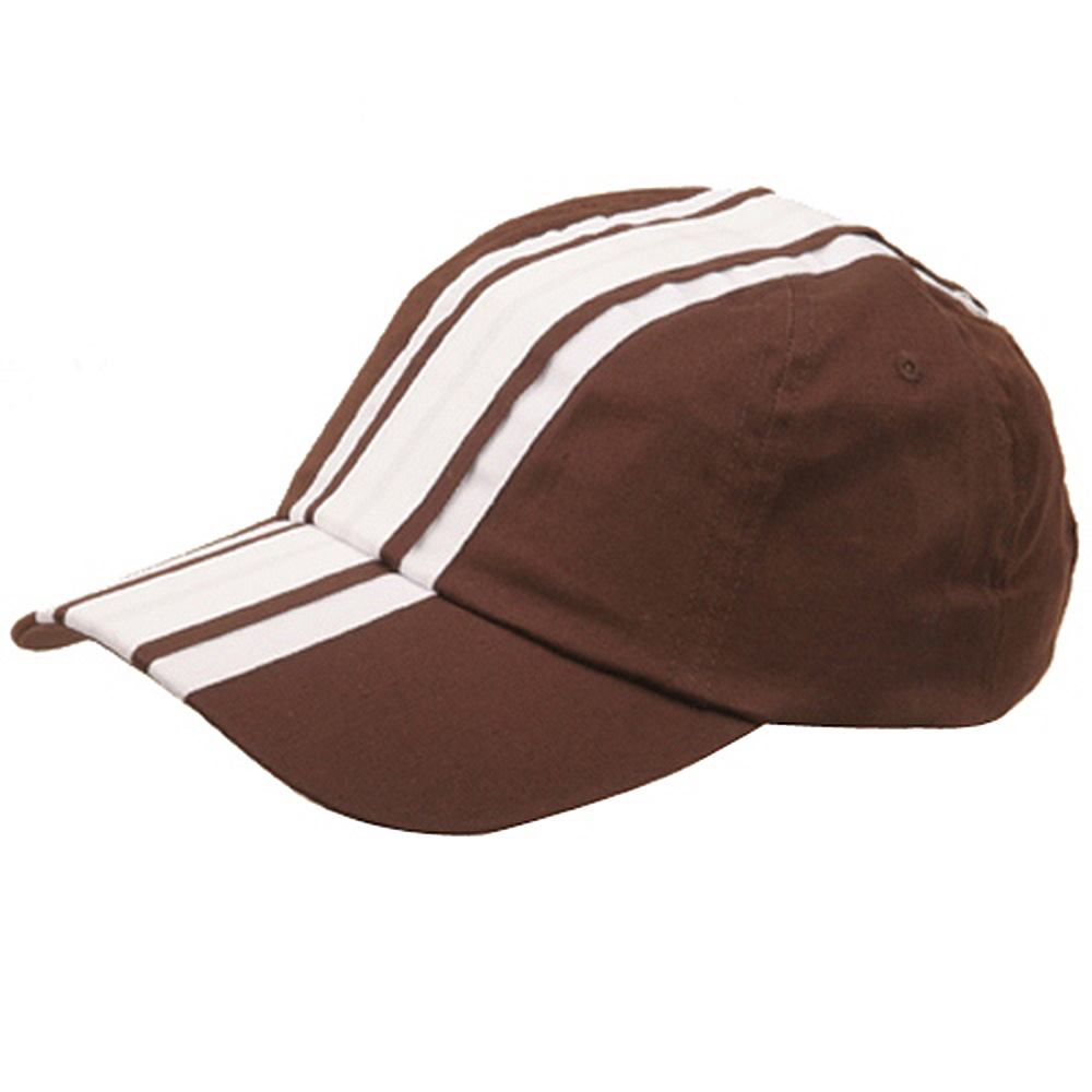 Racing Stripe Cotton Twill Cap-Brown White - Hats and Caps Online Shop - Hip Head Gear