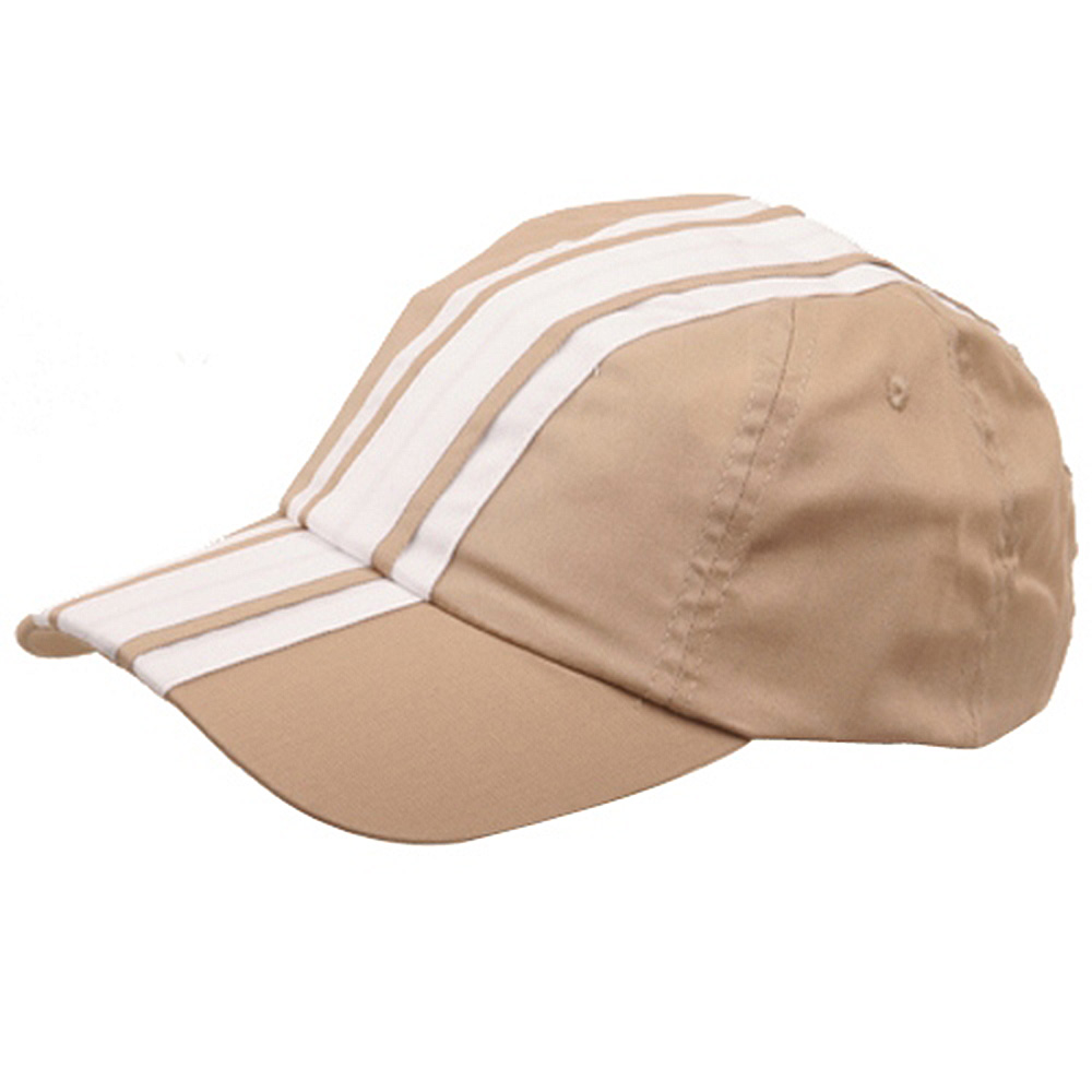 Racing Stripe Cotton Twill Cap-Khaki White - Hats and Caps Online Shop - Hip Head Gear