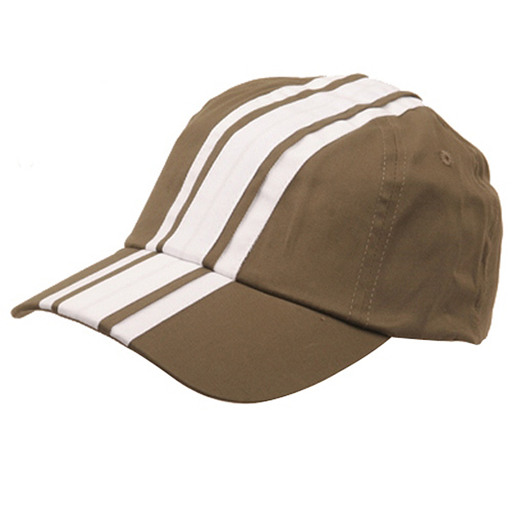 Racing Stripe Cotton Twill Cap-Olive White - Hats and Caps Online Shop - Hip Head Gear