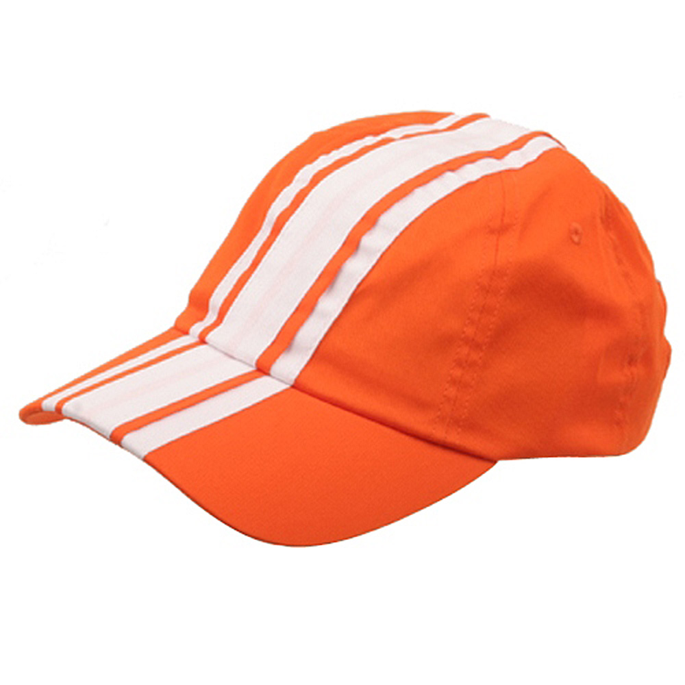 Racing Stripe Cotton Twill Cap-Orange White - Hats and Caps Online Shop - Hip Head Gear