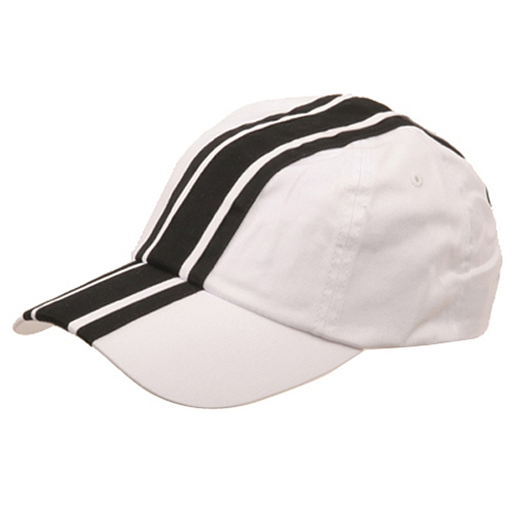 Racing Stripe Cotton Twill Cap-White Black - Hats and Caps Online Shop - Hip Head Gear
