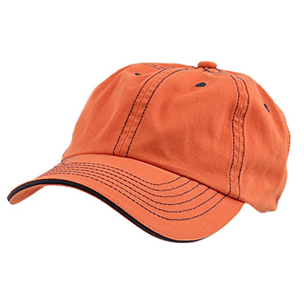 Low Profile Cotton Twill Washed Cap - Orange Navy - Hats and Caps Online Shop - Hip Head Gear