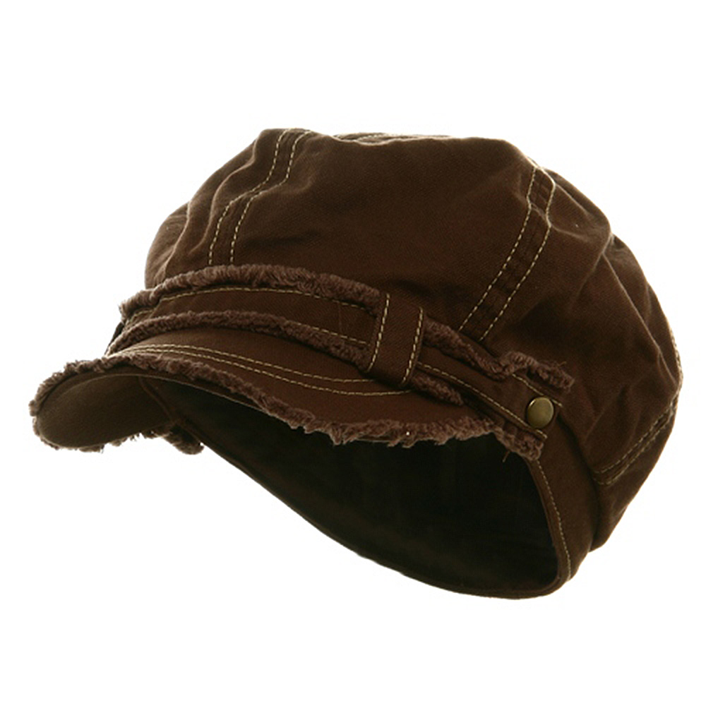 Frayed Washed Newsboy Cap - Brown - Hats and Caps Online Shop - Hip Head Gear