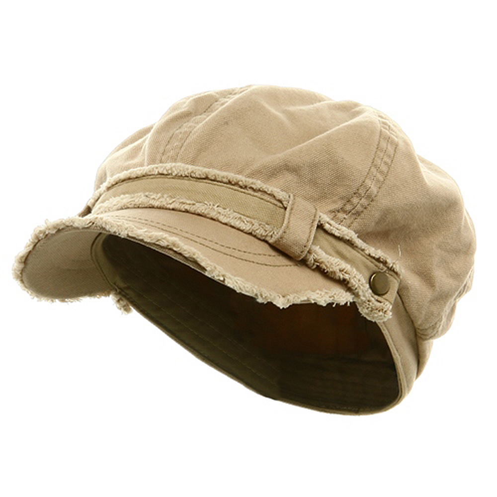 Frayed Washed Newsboy Cap - Khaki - Hats and Caps Online Shop - Hip Head Gear