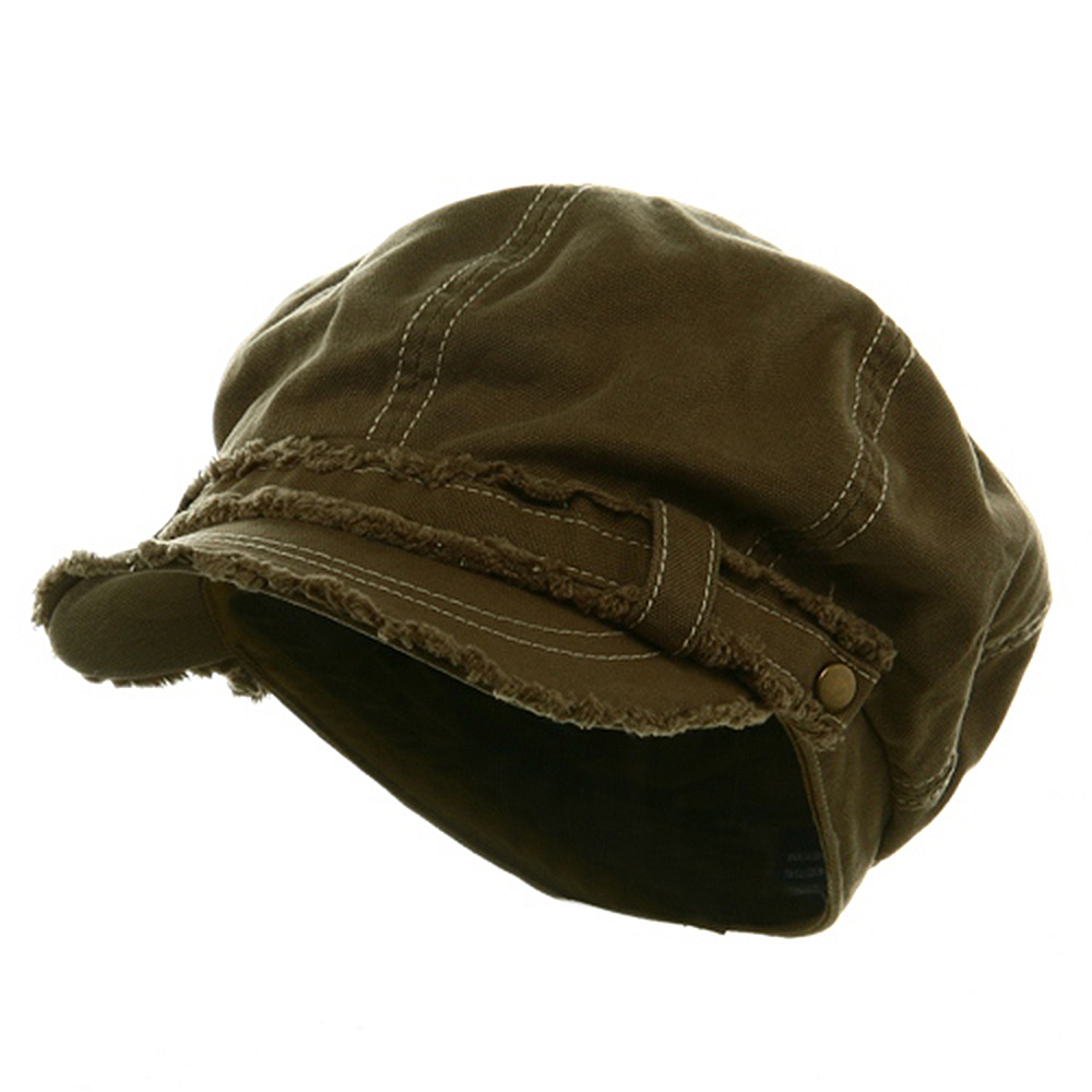 Frayed Washed Newsboy Cap - Olive - Hats and Caps Online Shop - Hip Head Gear