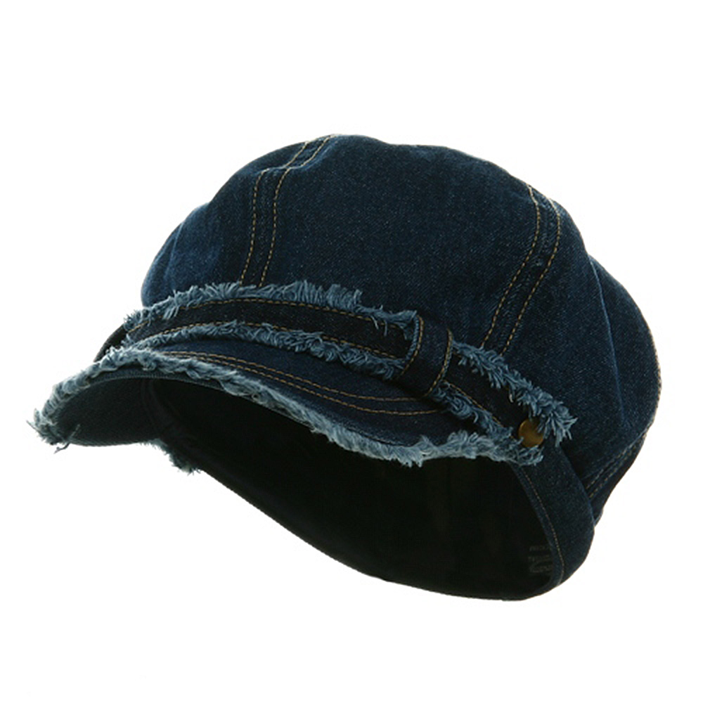 Frayed Washed Newsboy Cap - Navy Denim - Hats and Caps Online Shop - Hip Head Gear