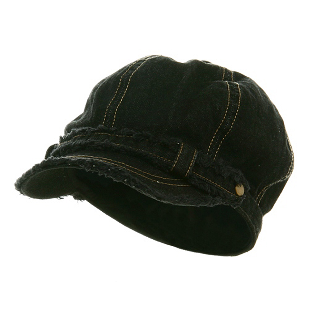 Frayed Washed Newsboy Cap - Black - Hats and Caps Online Shop - Hip Head Gear