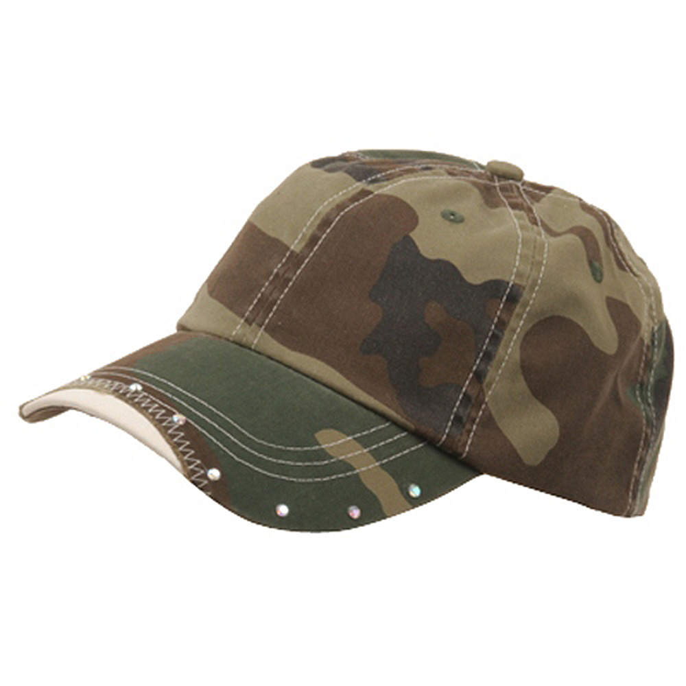 Rhinestone Washed Cotton Cap-Camo - Hats and Caps Online Shop - Hip Head Gear