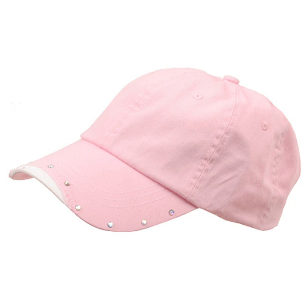 Rhinestone Washed Cotton Cap-Pink - Hats and Caps Online Shop - Hip Head Gear