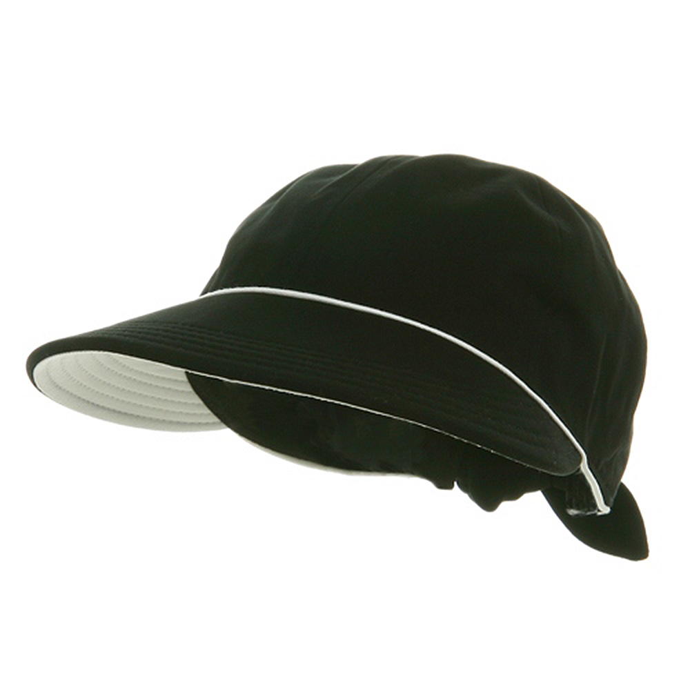 Piping Decoration Ladies Canvas Cap-Black - Hats and Caps Online Shop - Hip Head Gear