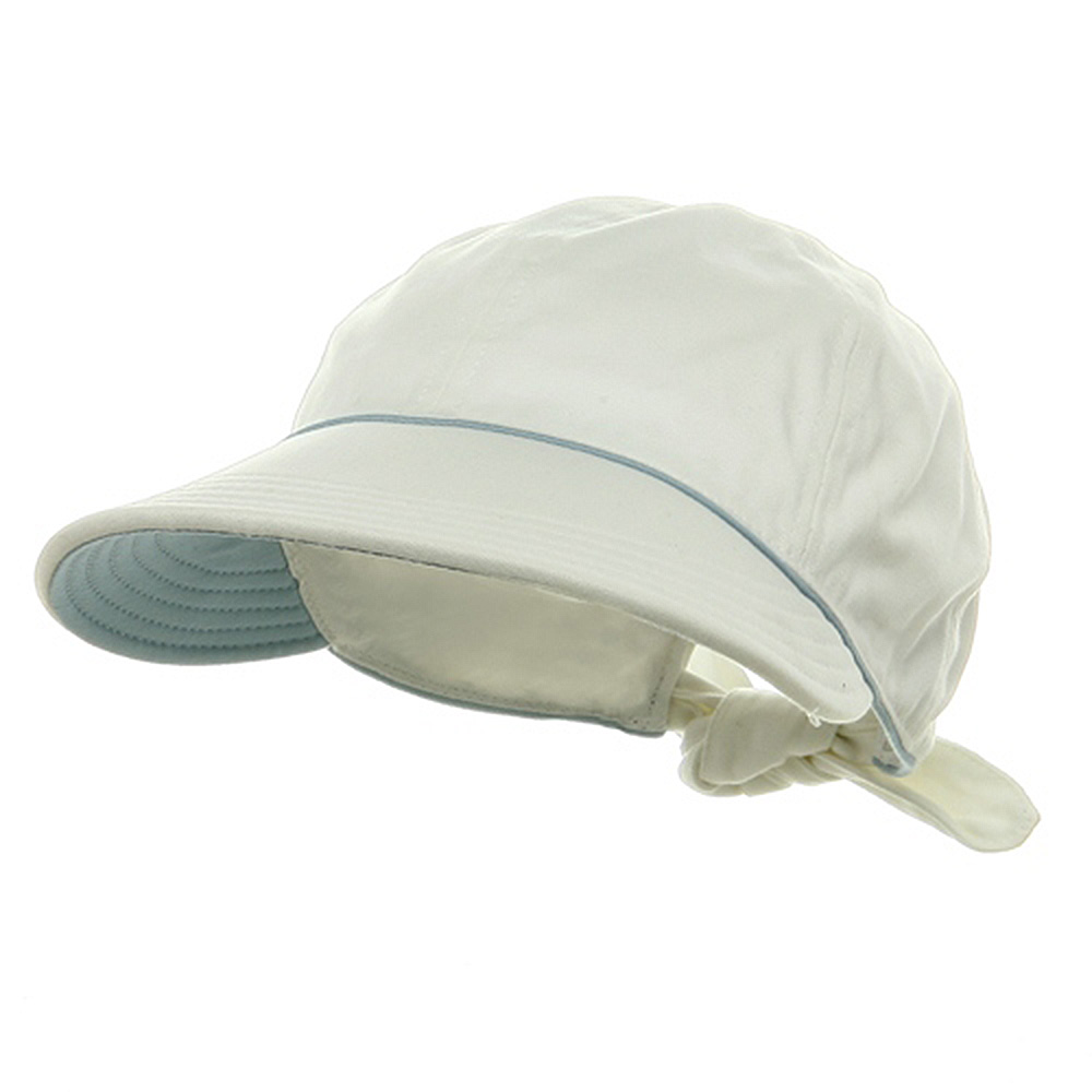 Piping Decoration Ladies Canvas Cap-White - Hats and Caps Online Shop - Hip Head Gear
