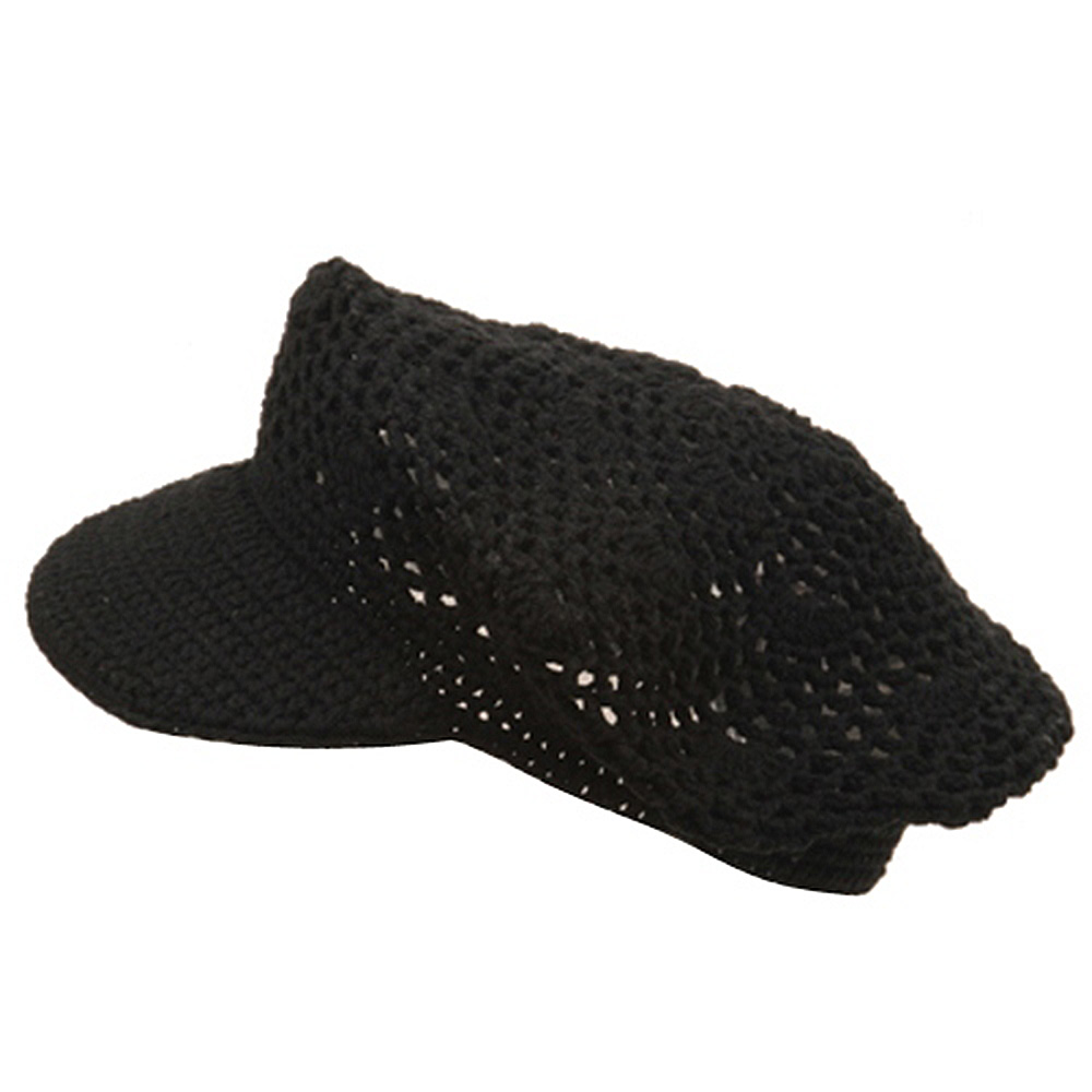 Crocheted Newsboy Hats(01)-Black - Hats and Caps Online Shop - Hip Head Gear