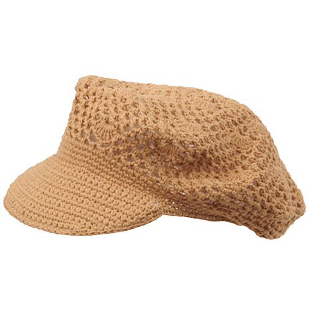 Crocheted Newsboy Hats(01)-Camel - Hats and Caps Online Shop - Hip Head Gear
