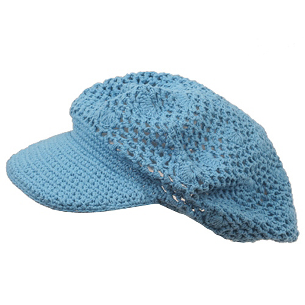 Crocheted Newsboy Hats(01)-Sky - Hats and Caps Online Shop - Hip Head Gear
