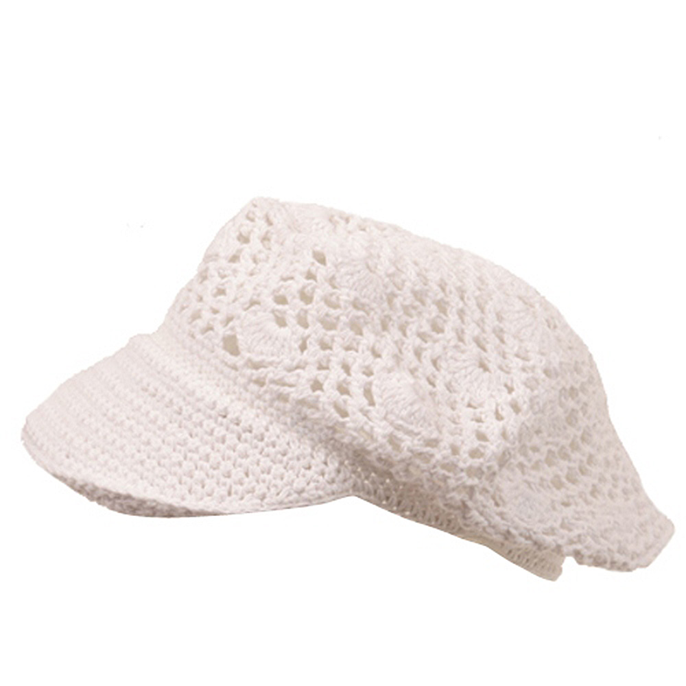 Crocheted Newsboy Hats(01)-White - Hats and Caps Online Shop - Hip Head Gear