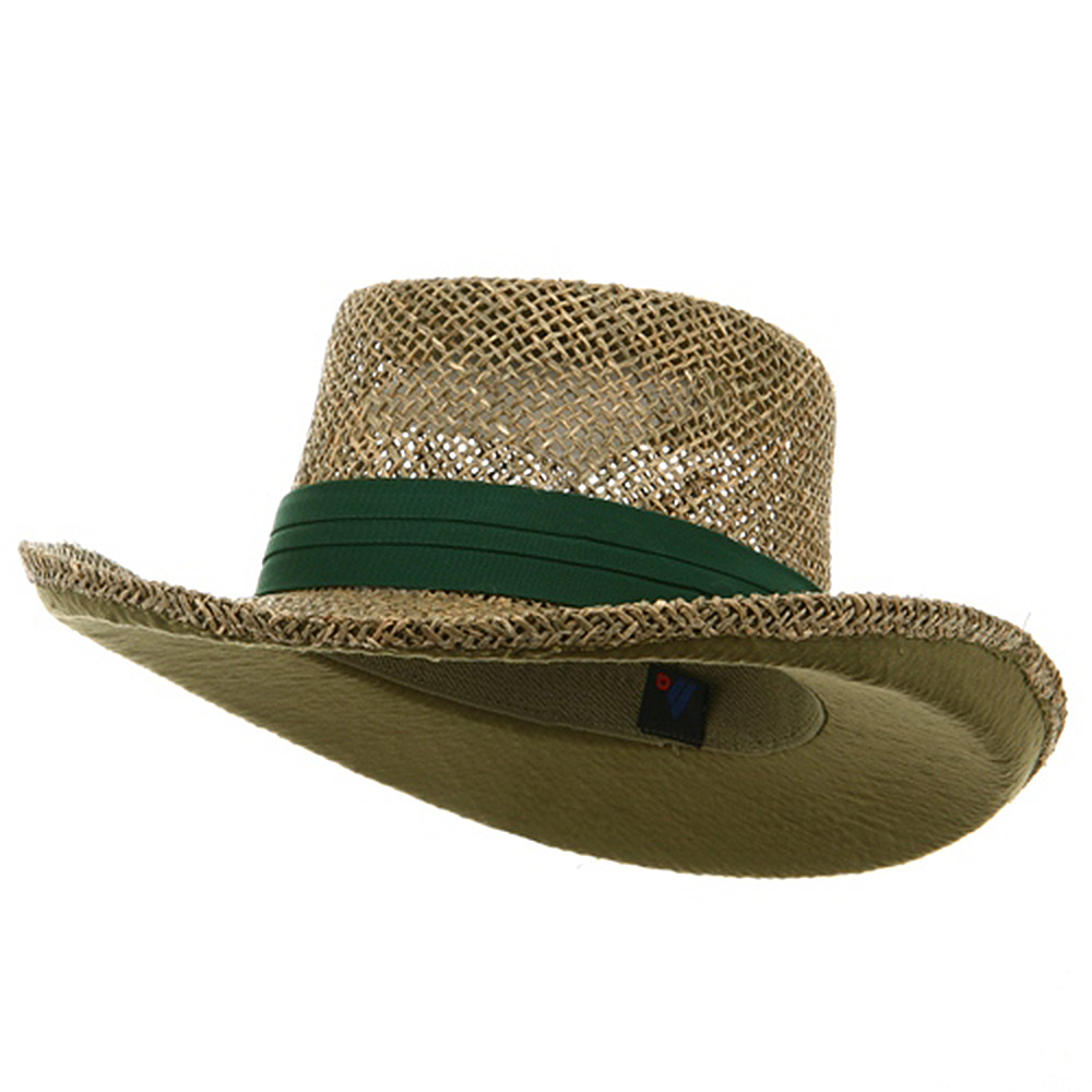 Gambler Straw Hat - Dk Green Band - Hats and Caps Online Shop - Hip Head Gear