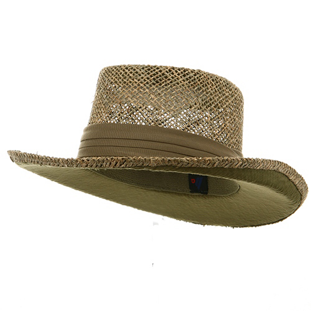 Gambler Straw Hat - Khaki Band - Hats and Caps Online Shop - Hip Head Gear
