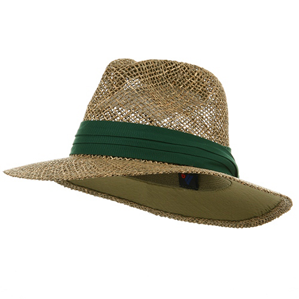 Safari Straw Hat - Dk Green Band - Hats and Caps Online Shop - Hip Head Gear