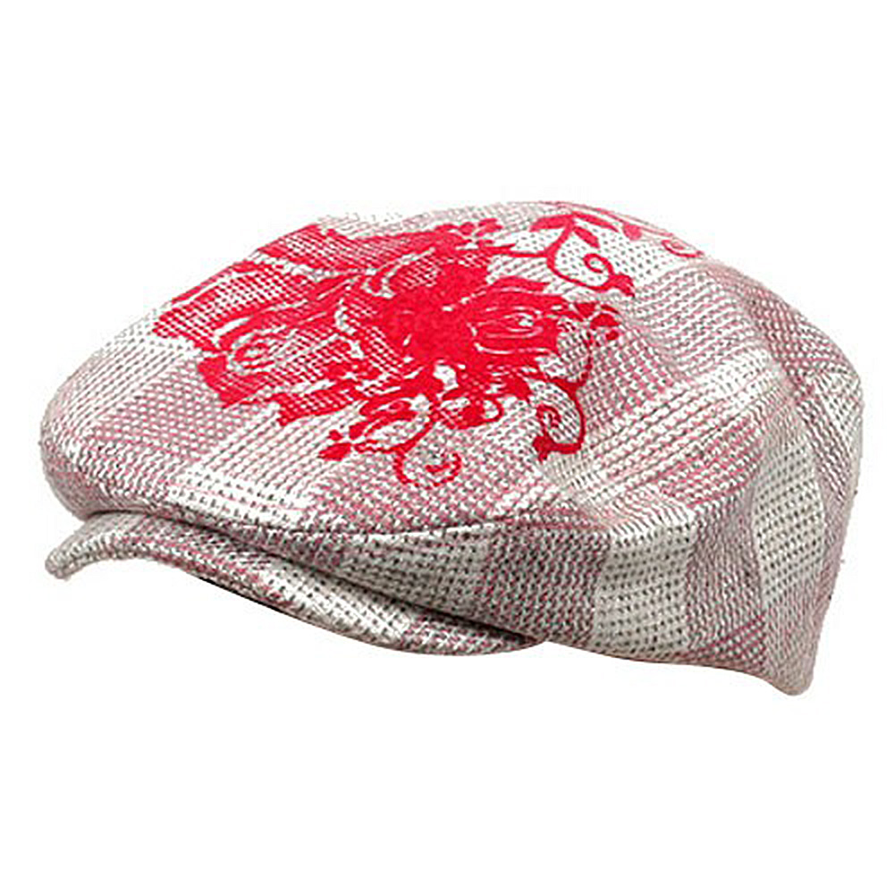 Flower Checkered Ivy Hat-Pink - Hats and Caps Online Shop - Hip Head Gear