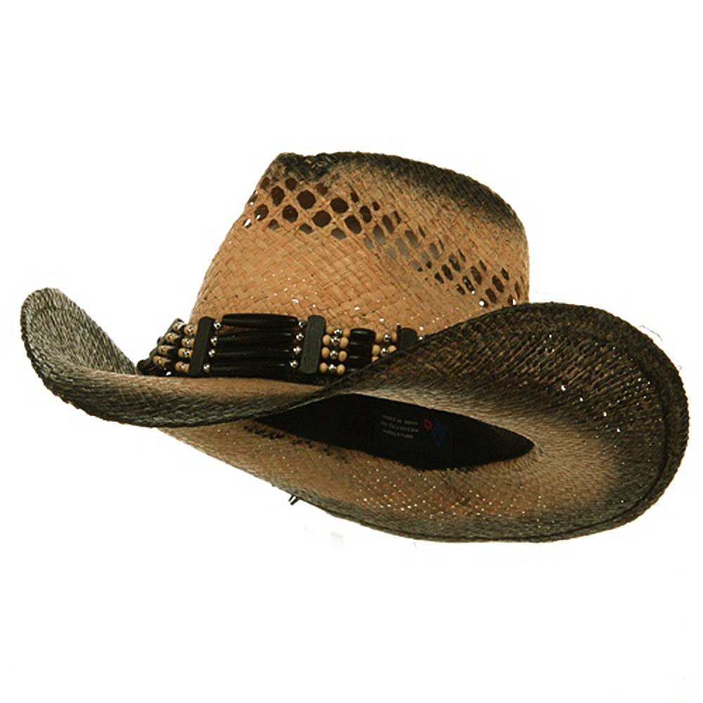 Outback Tea Stained Raffia Straw Hat-Natural Black Band - Hats and Caps Online Shop - Hip Head Gear