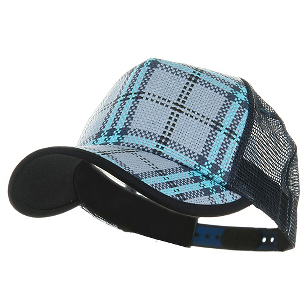 Plaid Straw Trucker Caps-Blue - Hats and Caps Online Shop - Hip Head Gear