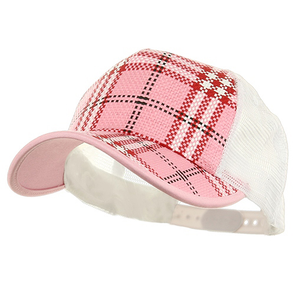 Plaid Straw Trucker Caps-Pink - Hats and Caps Online Shop - Hip Head Gear