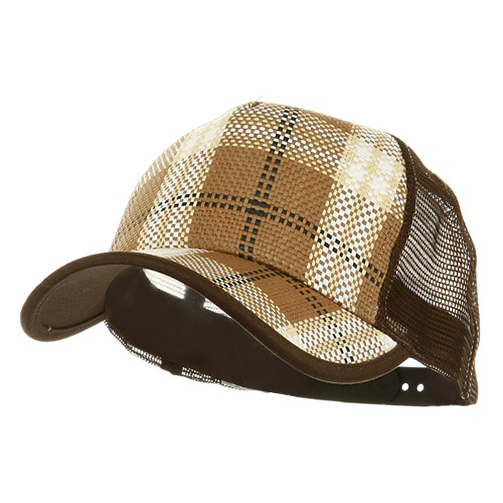 Plaid Straw Trucker Caps-Brown - Hats and Caps Online Shop - Hip Head Gear